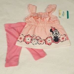 NWT DISNEY GIRLS MINNIE RUFFLED SET